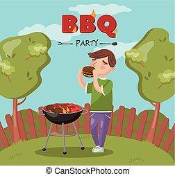 grill, főzés, étkezési, lángoló, fiatal, ábra, vektor, udvar, grillsütő, fél, kerti-parti, ember