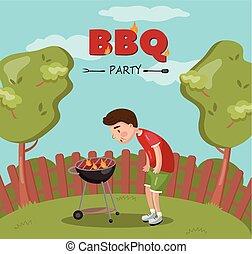 grill, főzés, lángoló, fiatal, ábra, vektor, udvar, grillsütő, fél, karikatúra, kerti-parti, ember