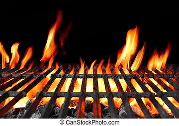 grill, faszén, lángoló, csípős, grillsütő, üres