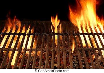 grill, feláll, elbocsát, elszigetelt, black háttér, grillsütő, becsuk, üres