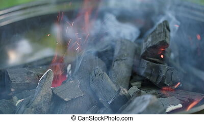 grill., flammes, brûlé, charbon, chaud, barbecue