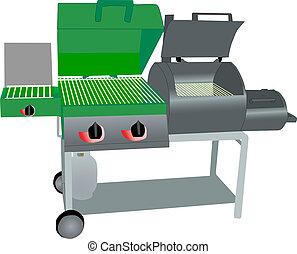 grill, gass, roker, combo