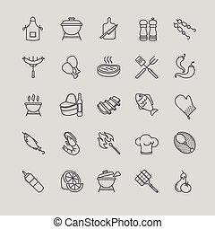 grill, grillsütő, állhatatos, ikonok