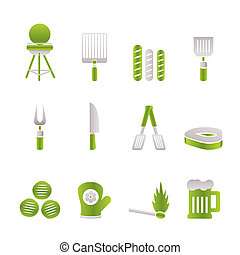 grill, grillsütő, piknik, ikonok