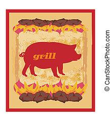 grill, grunge, plakat, -, schwein, design, menükarte,...