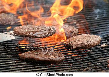 grill, hamburgare