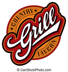'grill' sign/logo - hand lettering design; scalable and editable vector illustration (eps8);