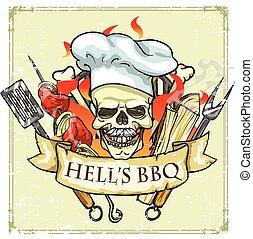 grill, hells, -, etikett, design, barbecue