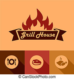 Illustration of Grill House Design Elements in Flat Design Style.