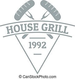 Grill house logo, simple gray style