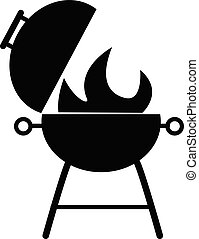 grill icon on white background. flat style. black BBQ grill icon for your web site design, logo, app, UI. barbeque symbol. outdoor grill sign.