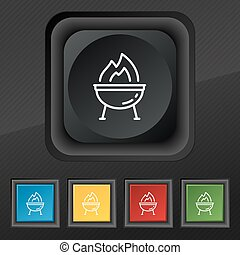 Grill icon symbol. Set of five colorful, stylish buttons on black texture for your design. Vector