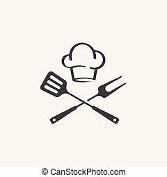 Grill Icon Vector, BBQ icon, fork and spatula