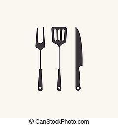 Grill Icon Vector, BBQ icon, fork, spatula and knife