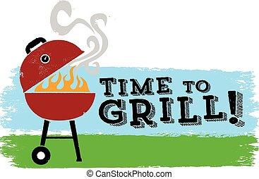 grill, idő, kerti-parti, ő van