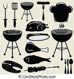 grill, ikonok, állhatatos, grillsütő