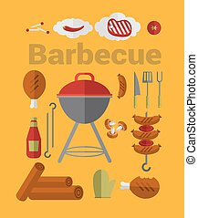 grill, ikonok, grillsütő