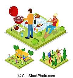 grill, isometric, na wolnym powietrzu, styl życia, camping., rodzina, płaski, zdrowy, ilustracja, wektor, activity., barbeque, recreation., 3d