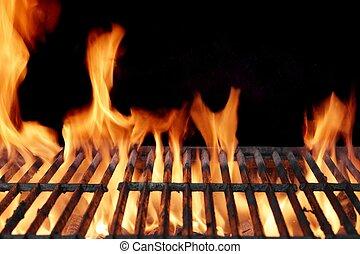 grill, közelkép, lángoló, üres, kerti-parti