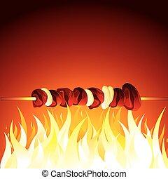 grill, kebab, gotowy, gorący, wektor, shish, flame.