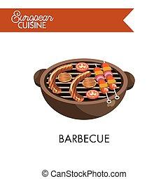 grill, kokkonst, isolerat, illustration, barbecue, europe