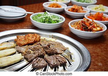 grill, koreanisch, :, grillfest, küche