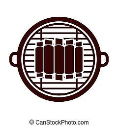 grill, kotlettrader, design, isolerat, barbecue