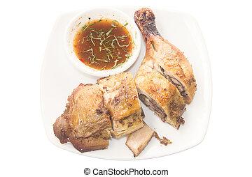grill, kylling, sovs, hvid baggrund