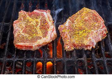 grill, lángoló, izomerő, felett, főzés, hússzelet