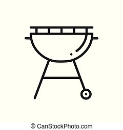 Grill Line Icon. Roaster BBQ. Charcoal Grill Sign and Symbol...