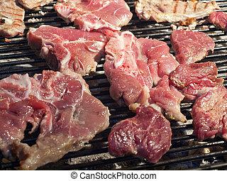 grill, marhaszeletek