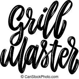Grill master. Lettering phrase isolated on white background. Design element for poster, card, banner, flyer. Vector illustration