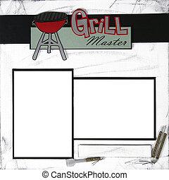 grill, meester, plakboek, frame, mal