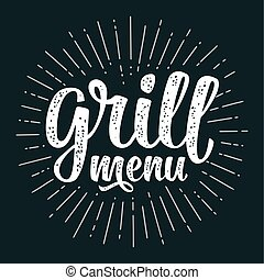 Grill menu calligraphic handwriting lettering. White vector vintage