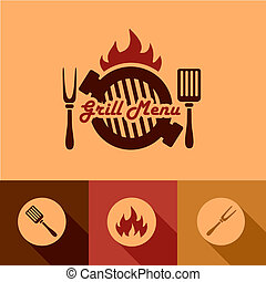 Illustration Grill Menu of in Flat Design Style.