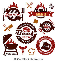grill menu design elements set