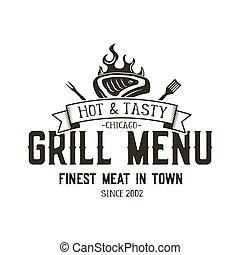 Grill menu emblem template. Steak house restaurant logo design with bbq symbols - meat, fire, barbeque tools. Vintage monochrome style. Retro logotype isolated on white background