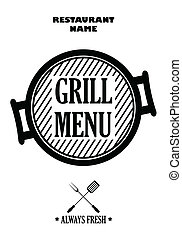 Grill menu isolated on white background, vector
