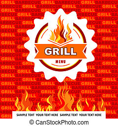 Grill menu on orange background.
