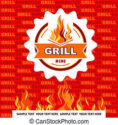 Grill menu on orange background.