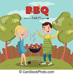 grill, nő, főzés, lángoló, ábra, vektor, udvar, grillsütő, fél, mosolygós, kerti-parti, ember