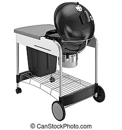Grill on wheels with desk and a chrome grille