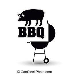 grill, ontwerp, bbq, menu