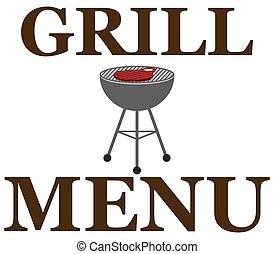 grill, ontwerp, menu, barbecue