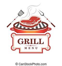 grill, ontwerp, menu