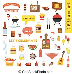 Grill Or Barbecue big Icon set with food and objects