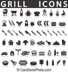 Grill Or Barbecue Icons on a white background with a shadow