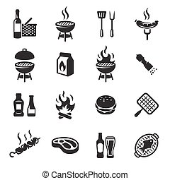 Grill or Barbecue icons set