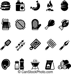 Grill outdoor kitchen icons. Family bbq, summer picnic symbols. Meat and vegetable bbq isolated pictograms