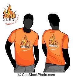 grill, póló, design.